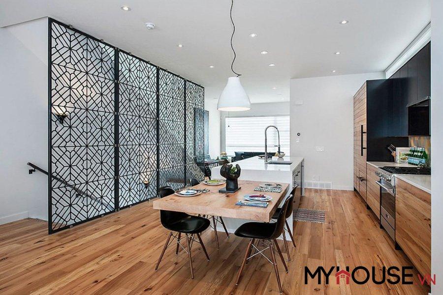 tông màu đối lập làm nổi bật lên thiết kế nội thất của căn hộ Calgary