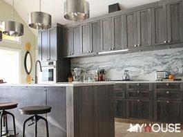 tủ bếp hiện đại xám bạc sang trọng