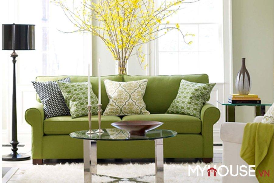 cũng có thể chọn màu xanh lá cây làm màu chủ đạo cho nhà hoa rợp nắng