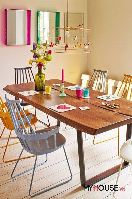 màu sắc phòng ăn đẹp tươi sáng tràn đầy sức sống