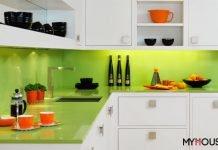 phòng bếp màu xanh lá cây kết hợp với trắng thật Tinh tế