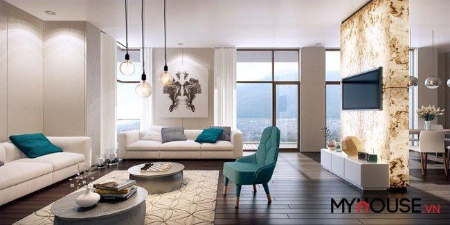 thiết kế phòng khách sử dụng điểm nhấn nhẹ nhàng nhưng cực ấn tượng